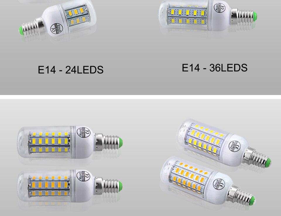 E27 LED Bulb E14 LED Lamp 220V 24 36 48 56 69 72LEDs Bombillas Ampoule LED E27 E14 Corn Light Bulbs For Home Chandelier Lighting (17)