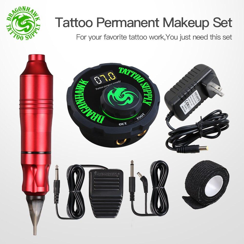 Tatouage rotatif Machine stylo Style ensemble tatouage Kit LCD puissance pédale tatouage approvisionnement livraison gratuite maquillage Permanent Machine assortiment