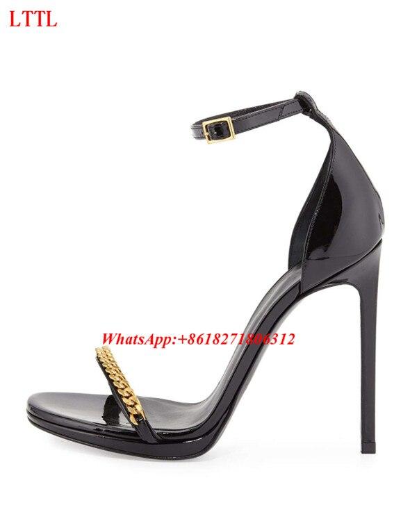 Boucle Sapato Femmes Verni Chaussures Talons D'été Hauts Feminino Sandales Sexy Noir Chaîne Pic Sangle Cuir Stiletto As En Agrémentée Or 7wCTqIx