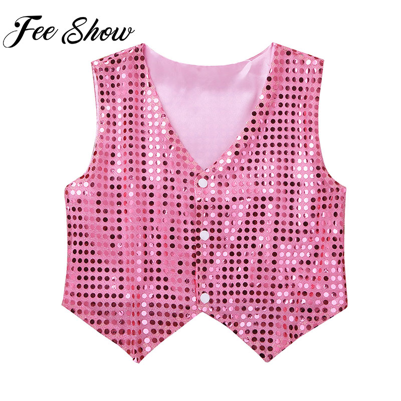 2019 Kids Boys Vest Clothing Glittery Sequined Vest Dance Waistcoat For Teens Hip hop Jazz Choir Modern Stage Costumes Dancewear