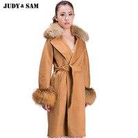 Turn Down Collar Free DHL Shipping Long Woolen Red Fox Collar Cuff Leisure Fashion Women Coat