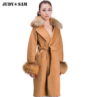Turn Down Collar Free DHL Shipping Long Woolen Red Fox Collar Cuff Leisure Fashion Women Coat