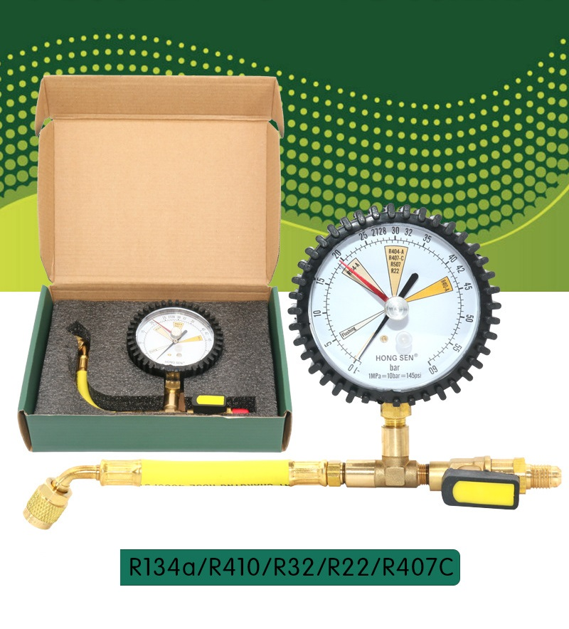 New Cold Storage Air Conditioning Refrigeration Test Nitrogen Detection Gauge Refrigerant Table For R134a, R22, R410,R32, R407C
