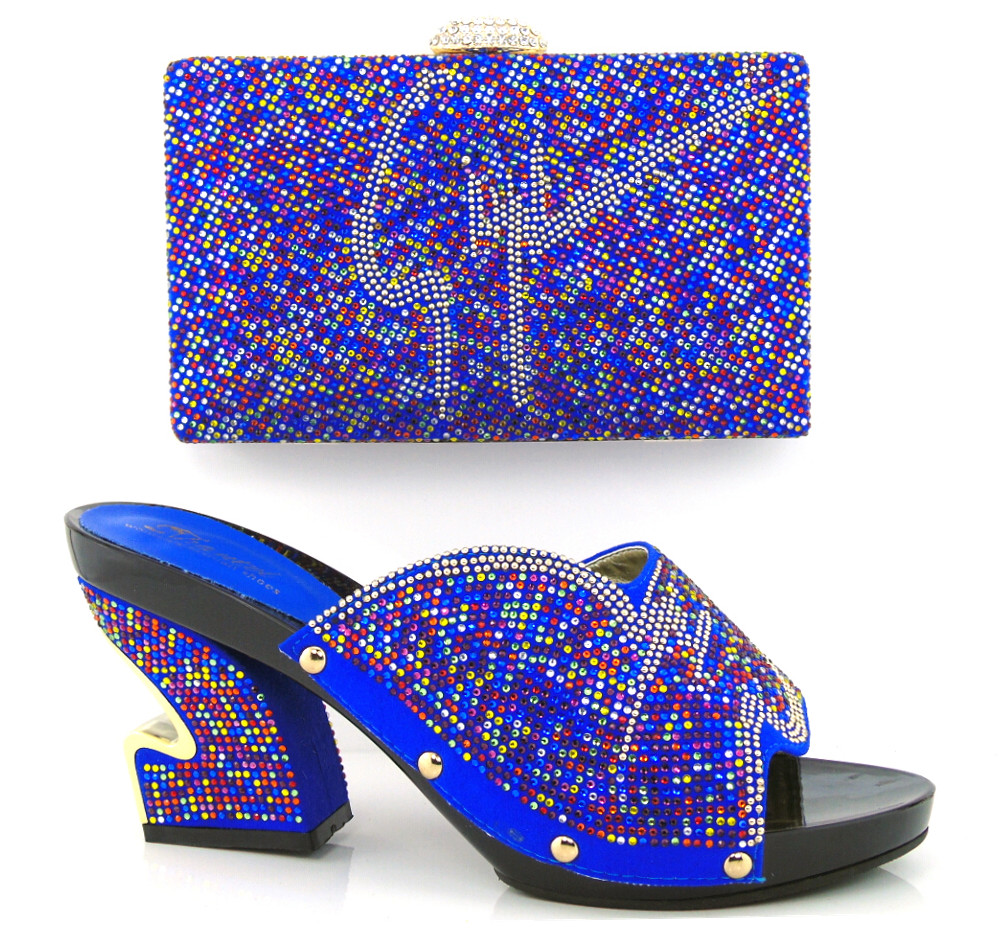 ФОТО Italian Shoes With Matching Bags African Women Shoes and Bags Set in hot Selling.blue shoes and bag set to matching. !HJX1-12