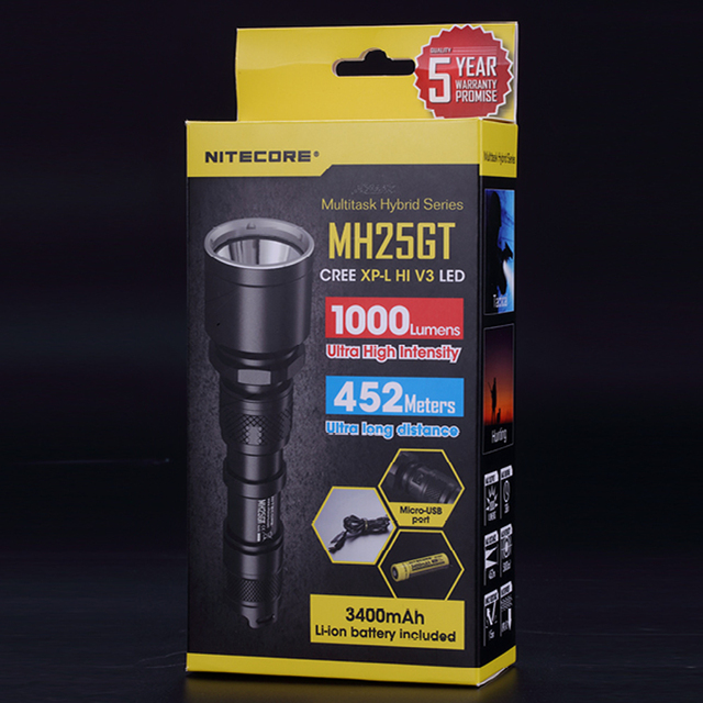 SALE NITECORE MH25GT 1000Lms Tactical CREE XP-L HI V3 LED Waterproof Flashlight Outdoor Torch+3400mah Battery+ Holster+USB Cable