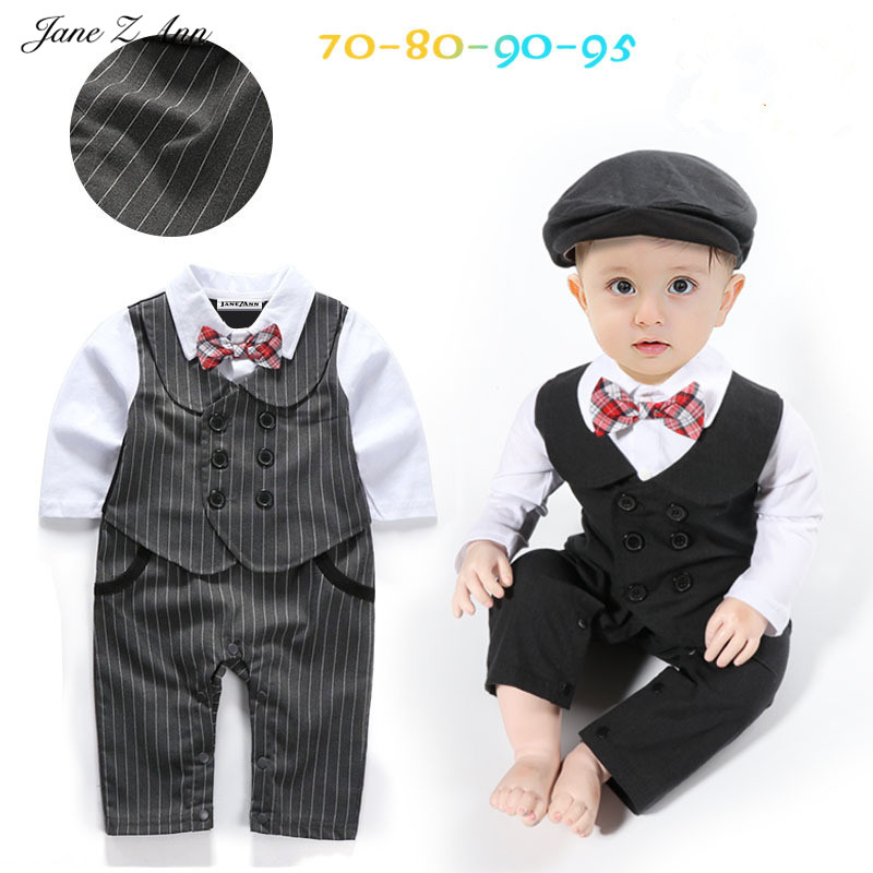 Jane Z Ann baby boy gentlemen romper 2 colors striped bow tie jumpsuit+hat infant toddler onesie halloween costume surplice neckline self tie cami jumpsuit