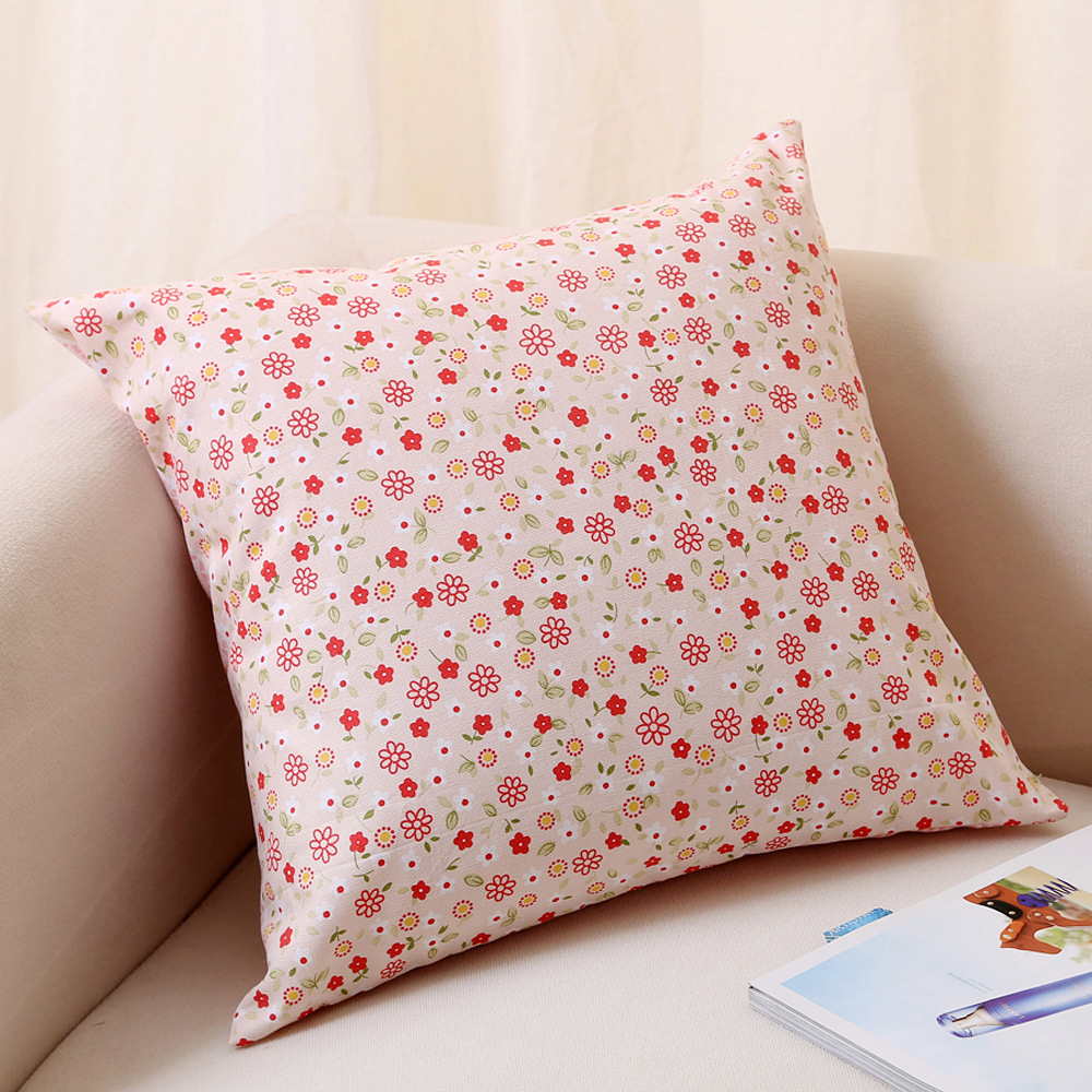 Household cloth cotton canvas fresh pink plaid floral pillow cover ...