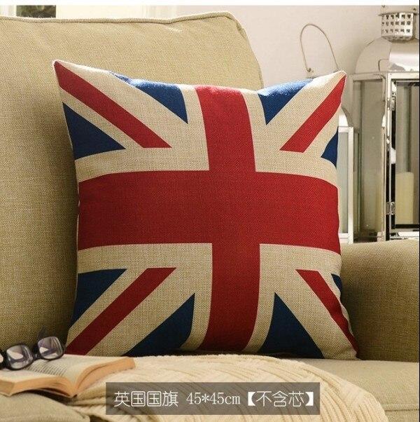 British Flag Linen/Cotton American Style Cushion Covers Pillow Case Decorative Sets 18''x18'' (45x45cm) - Vivian Hometextile Store store