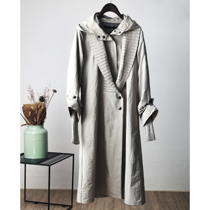 Korean Design Top sale Vintage 2019 New Womens Duster   Trench   coats casual leisure patchwork Loose windbreaker