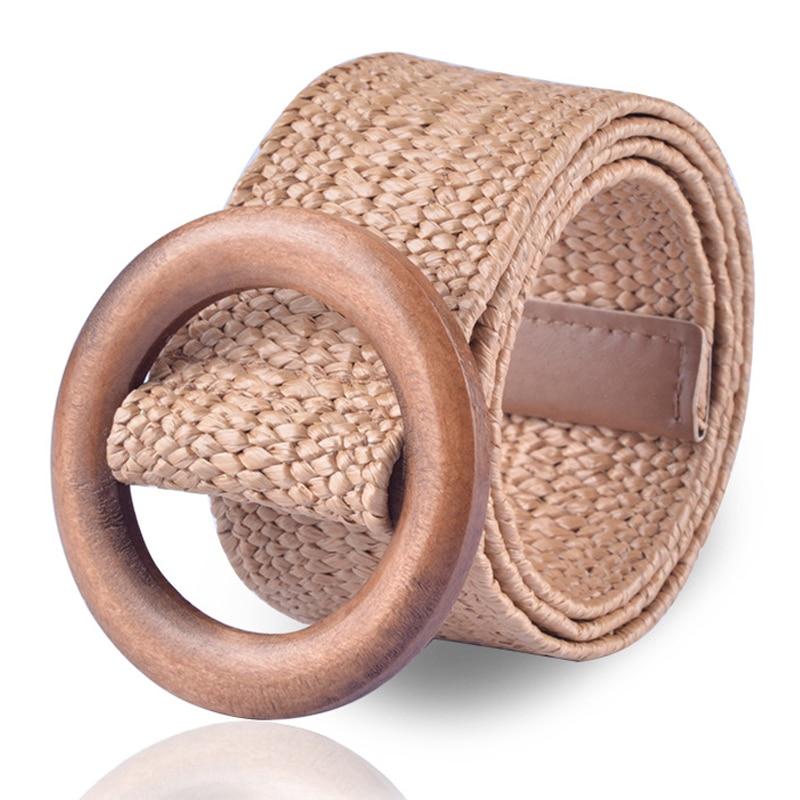 Braided Wooden   Belt   Ladies Casual Summer Decorate Dress   Belt   High Quality Waist Woven cummerbund Woman Elastic   Belts   Waistband
