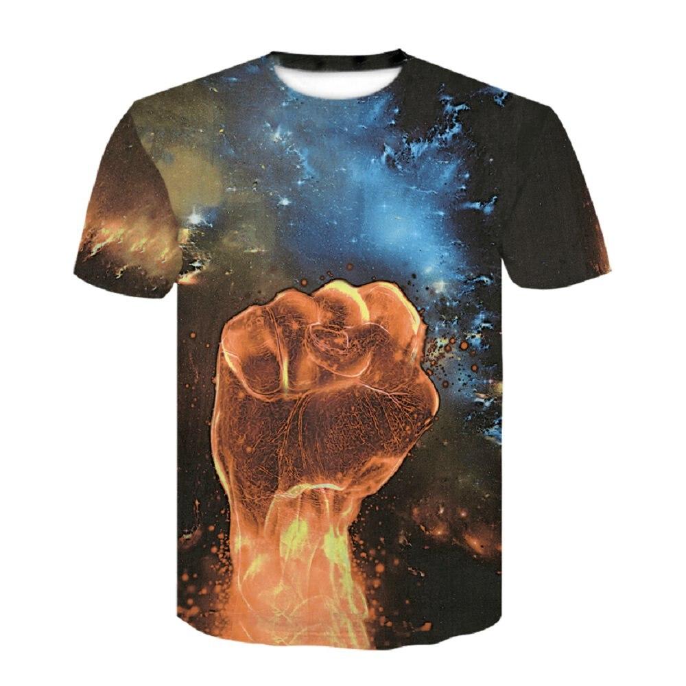 2018 Summer Tops Men Funny Print Space Fire Fist 3d Black Tshirts Regular Loose Leisure O Neck T-shirt Homme Tee Dropship