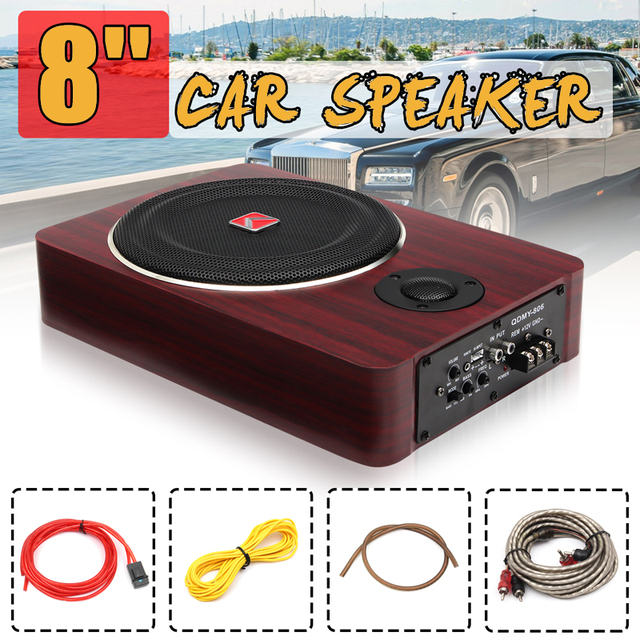 I Key Buy 8 inch 600W Wood Under Seat Car Subwoofers Active Speaker 12V Auto Car Audio Stereo Bass Sub Woofer Amplifier Speakers 1