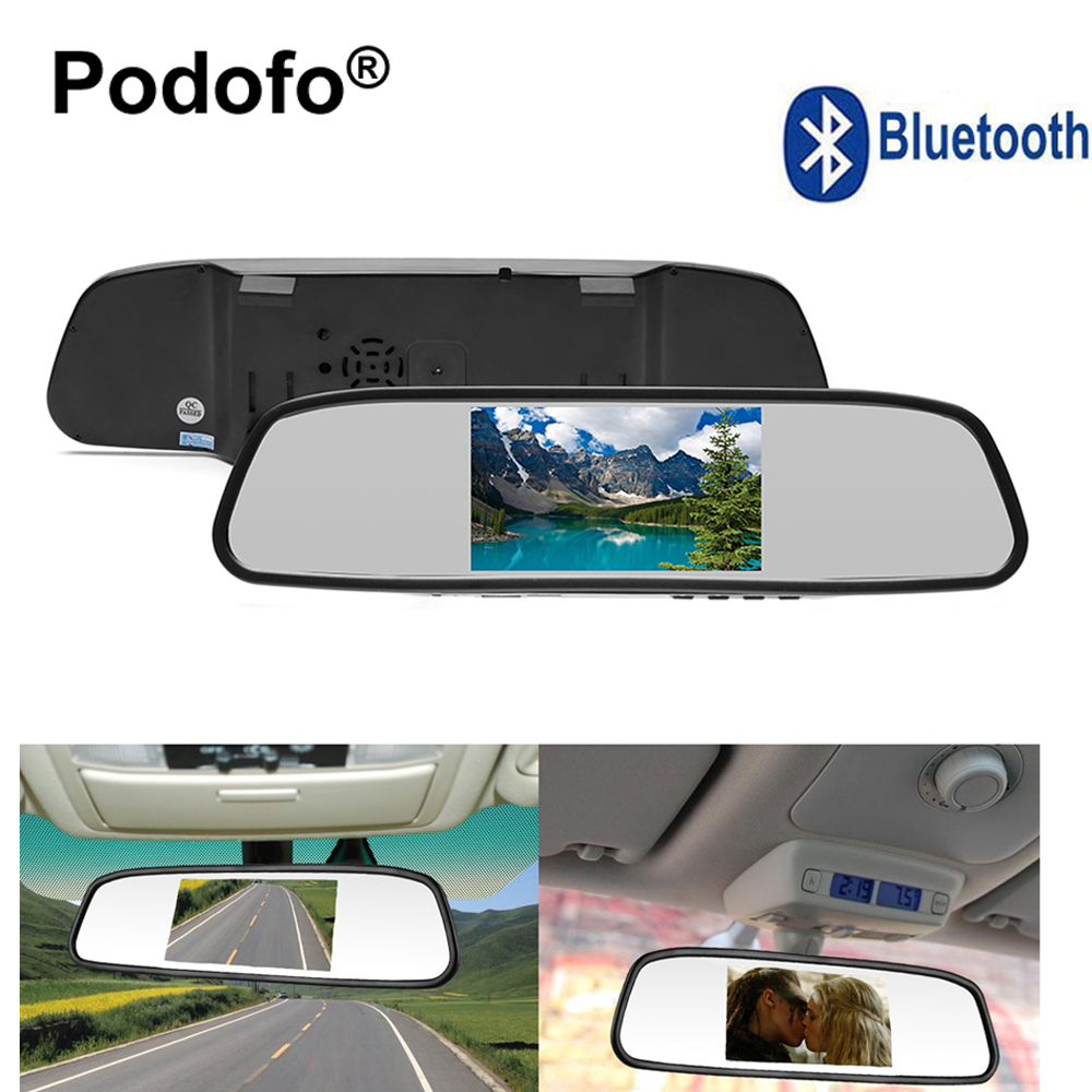 Podofo 4.3 TFT LCD Car Backup Mirror Monitor with Bluetooth FM transmitter MP5 USB Card Support 2 Ways Video Inputs Car-styling
