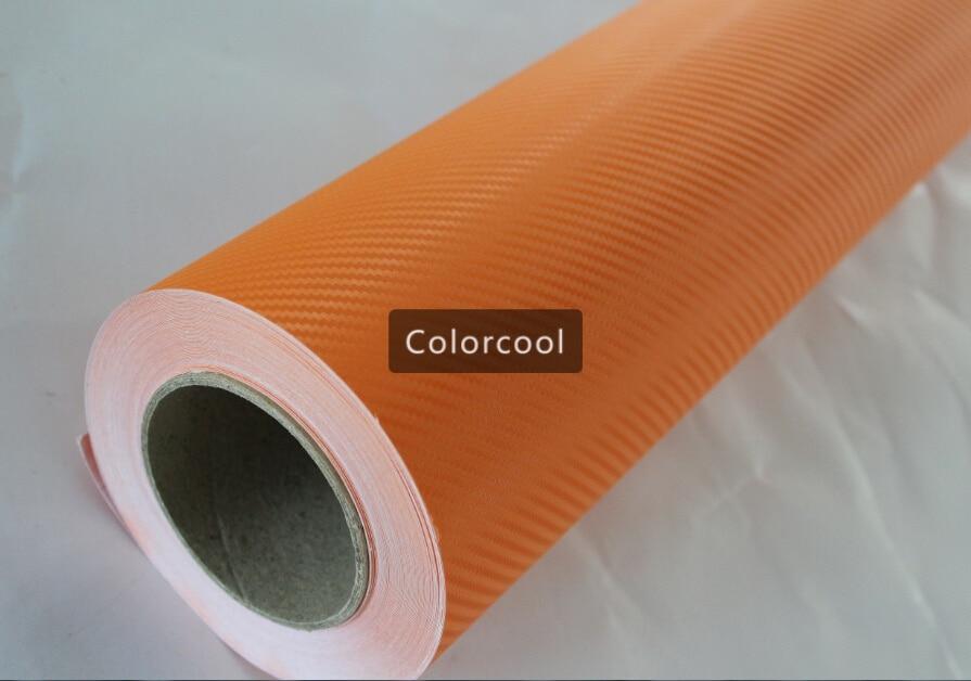 Autocollant Orange de voiture de film de vinyle de fibre de carbone 3D pour l'automobile et l'électronique avec la bulle d'air libre pour l'enveloppe de voiture