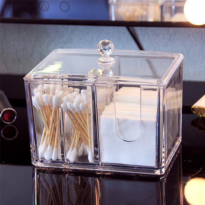 Top Quality Clear Acrylic Cotton Swabs Storage Box Case Cotton Swab Stick Toothpick Cosmetic Makeup Organizer Case Holder #508