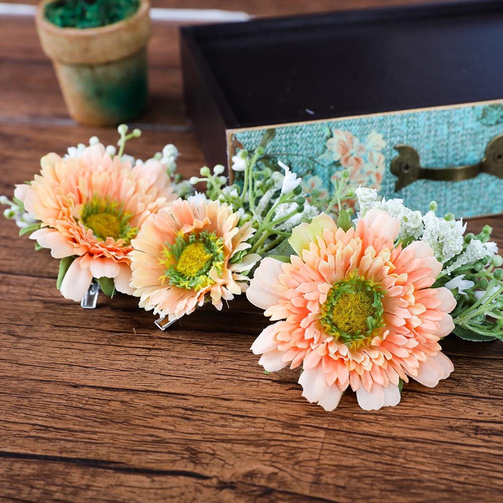 Artificial Daisy Flower Hair Clips Barrettes 3pcsset Bridal Wedding