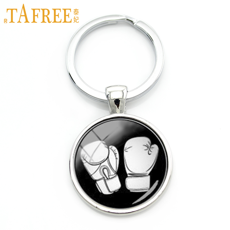 TAFREE 2016 Newest Design Sports Jewelry Boxing Keychain Black White Minimalist Boxing Glove Pattern Glass Alloy Key Chain KC281