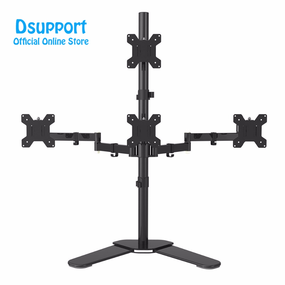 Quad Arm LCD LED Heavy Duty Monitor Stand Desk Mount Bracket 3 + 1 free Stand / Holds Four Screens up to 27 ML6864