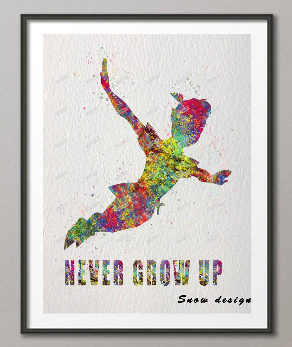 Bilder Poster Us 7 79 40 Off Original Aquarell Peter Pan Never Grow Up Wandkunst Leinwand Malerei Kindergarten Poster Bilder Kinderzimmer Dekoration In Original