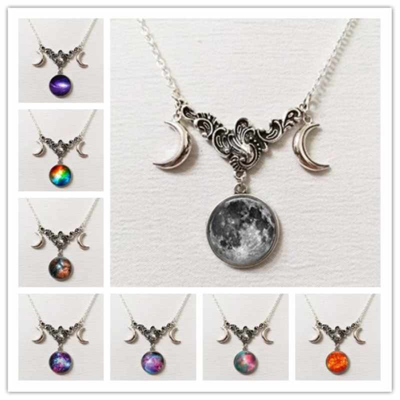 Milky way constellationTriple moon necklace,witch pagan jewelry,silver half moon