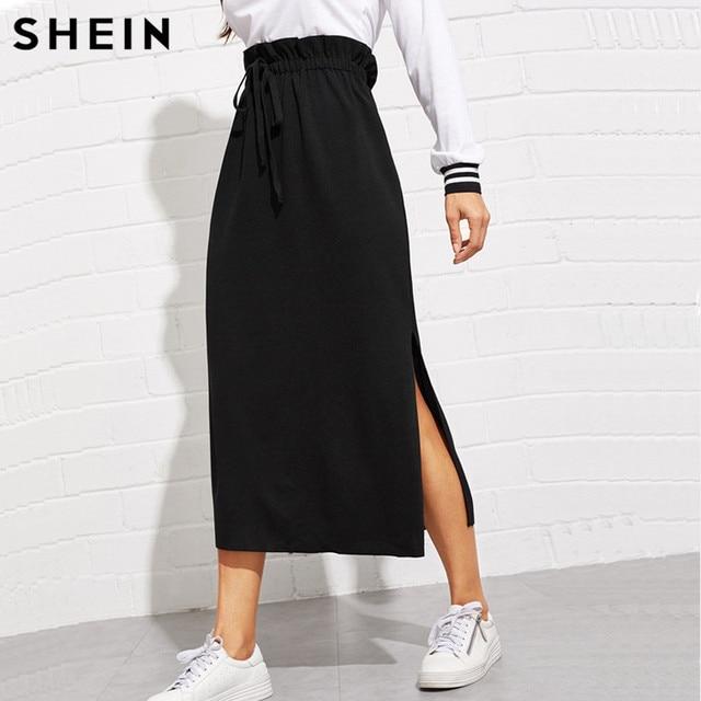 SHEIN Black Paperbag Waist Split Side Skirt Autumn  Casual Workwear Women Maxi Skirt High Waist Belted Split Hem Midi Skirt 2