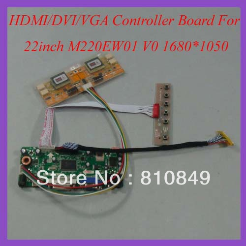 HDMI+DVI+VGA+Audio Control board work for 22inch M220EW01 V0 1680*1050 Lcd panel hdmi dvi vga audio control board work for 22inch m220ew01 v0 1680 1050 lcd panel