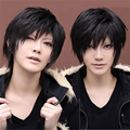 1pcs Short Synthetic Hair Wigs Black Cosplay Wig Heat Resistant High Temperature Hair With Oblique Bangs