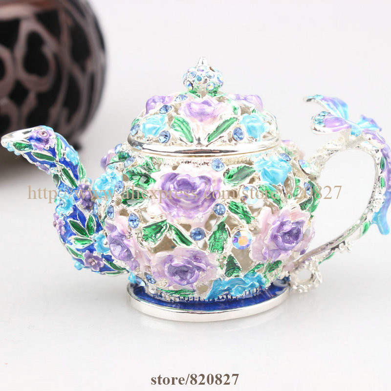 enamel teapot trinket box teapot hinged box collectible elegant teapot trinket box vintage antique tea pot cryst gift jewelrybox tea specaily premium new tea fen quality gift box gift