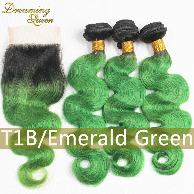 8a 1b Green Lace Closure With Ombre Malaysian Virgin Hair Extension