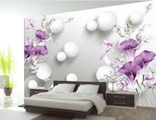 Paars bloem stereoscopische behang