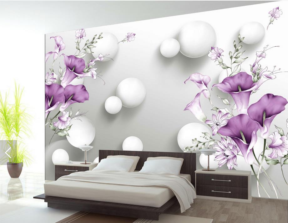 Anpassen 3d Tapeten Wohnkultur Wohnzimmer Lila Calla Blume Wandbilder Stereoskopischen WallpaperChina