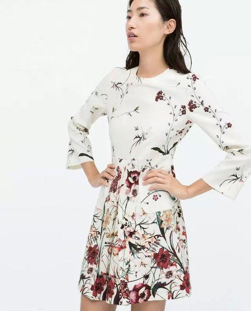 Ref 2229/624 ZA 2015 summer White Womens Slim digital printed front pleated dress with pocket 3/4 sleeved dress femininos