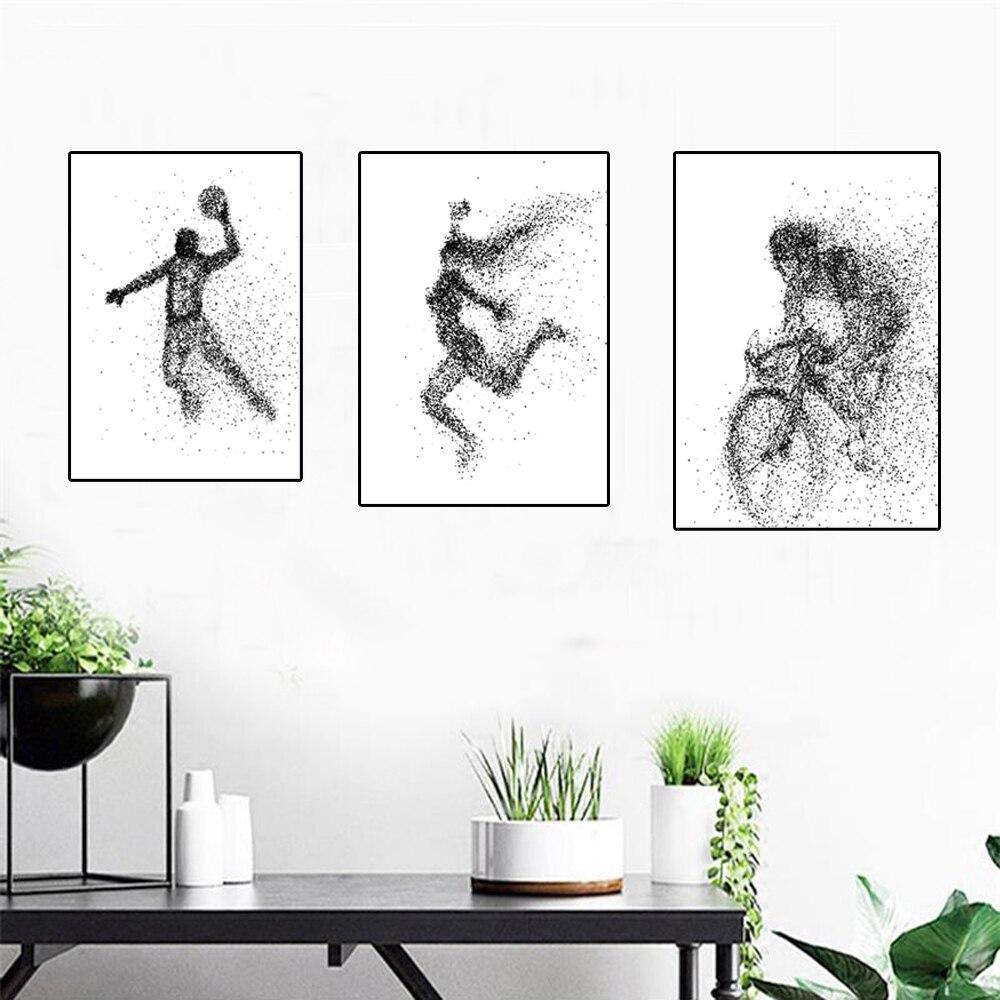 Вектор Творческий абстрактный портрет Плакаты и печатает абстрактная спортсмен стены черные и белые точки Книги по искусству фотографии д...