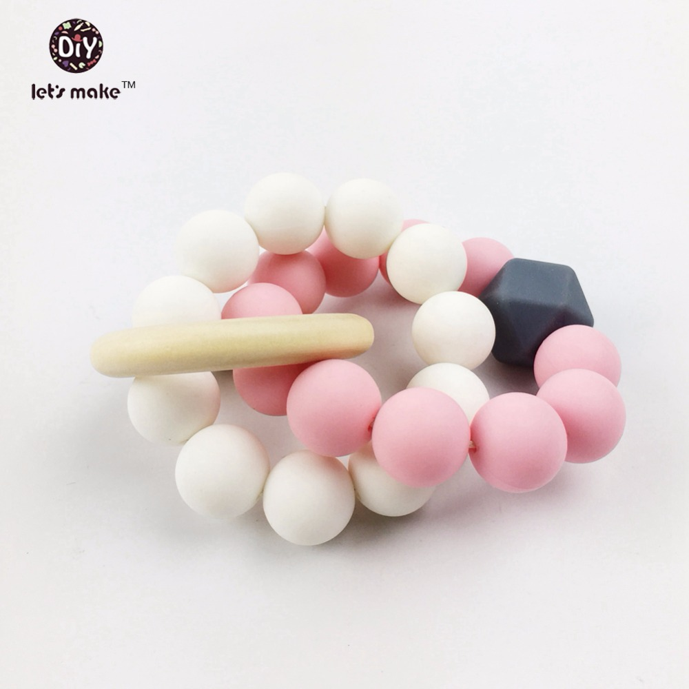 Let's make Silicone Chew Beads Baby Teether Nattural Safe Raw Original Former Brib Toy Mom Bracelet Silicone Baby Teething
