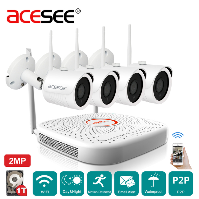 Acesee Home Security Camera CCTV System Wireless 4CH 1080P NVR Kit ...