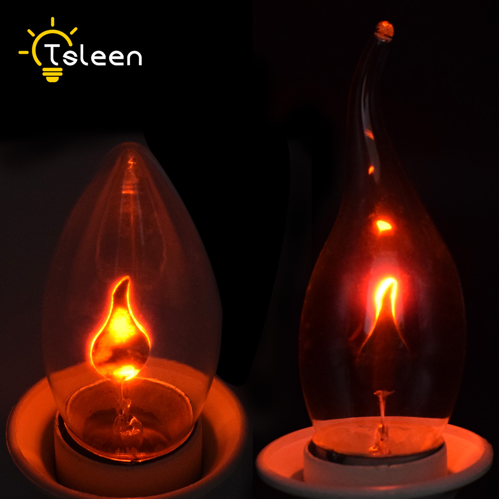 8x Vintage Edison Light Bulb E27 E14 3W LED Flickering Lamp Fire Flame Candle Tail Chandelier Bulbs Home Bar Decor Lighting 220V