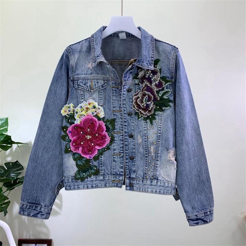 2019 fashion Heavy three-dimensional flowers hole washed denim   jacket   female long sleeve Jeans   jacket     basic     jacket   r943