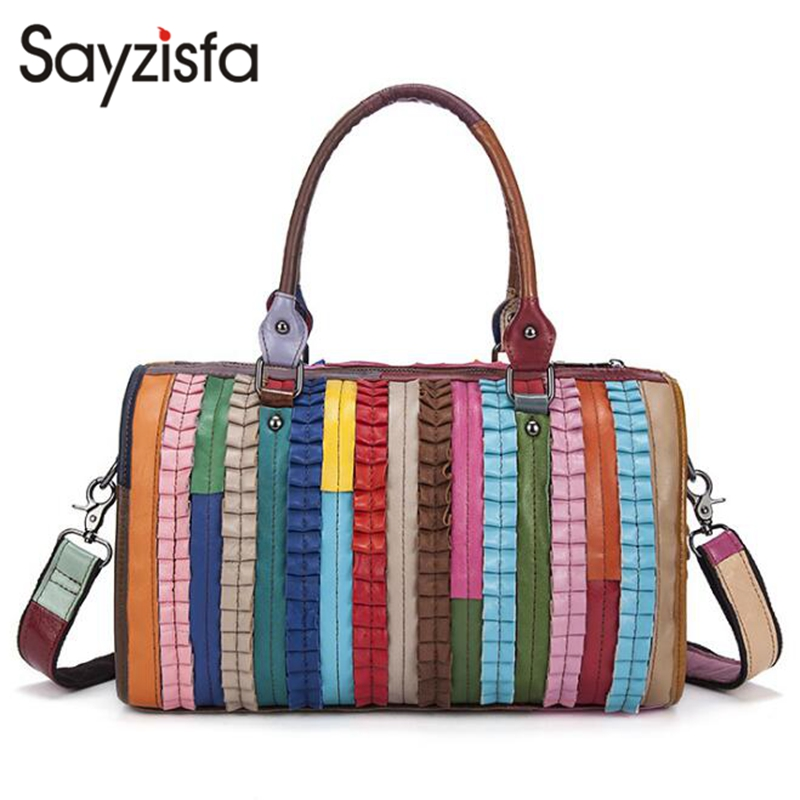 Genuine Leather Lady bags Color patchwork shoulder bag Fashion striped handbags The first layer of leather Messenger bag B-2 genuine leather women striped handbags patchwork lady shoulder crossbody bag brand design colorful stripe sling bag random color