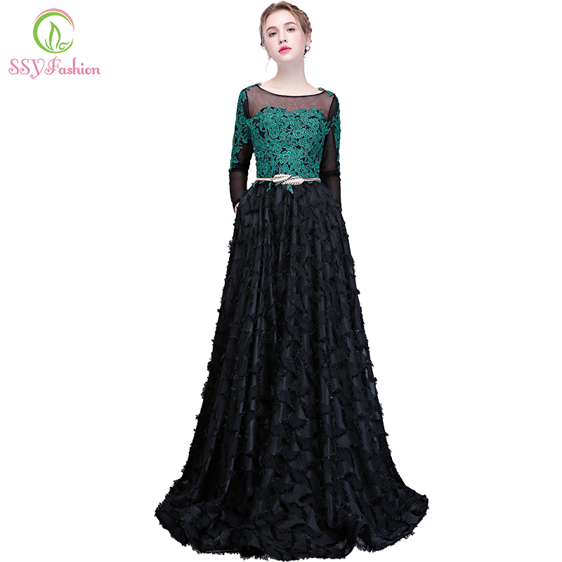 SSYFashion New Lace Prom Dress Long Sleeved Appliques Floor length Black Elegant Evening Party Formal Gown