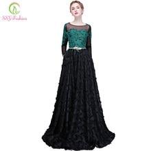 20355bbeb3890ea Ssyfashion 2018 Новый Кружево платье для выпускного вечера Длинные рукава  Аппликации длиной до пола Черный Элегантный Вечеринка ..