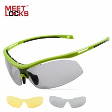 MEETLOCKS Cycling Sunglasses Road Bike  Photochromic LensesTR90 Goggles Eyewear 2 Lens For Outdoor& Sports ,Bicycle
