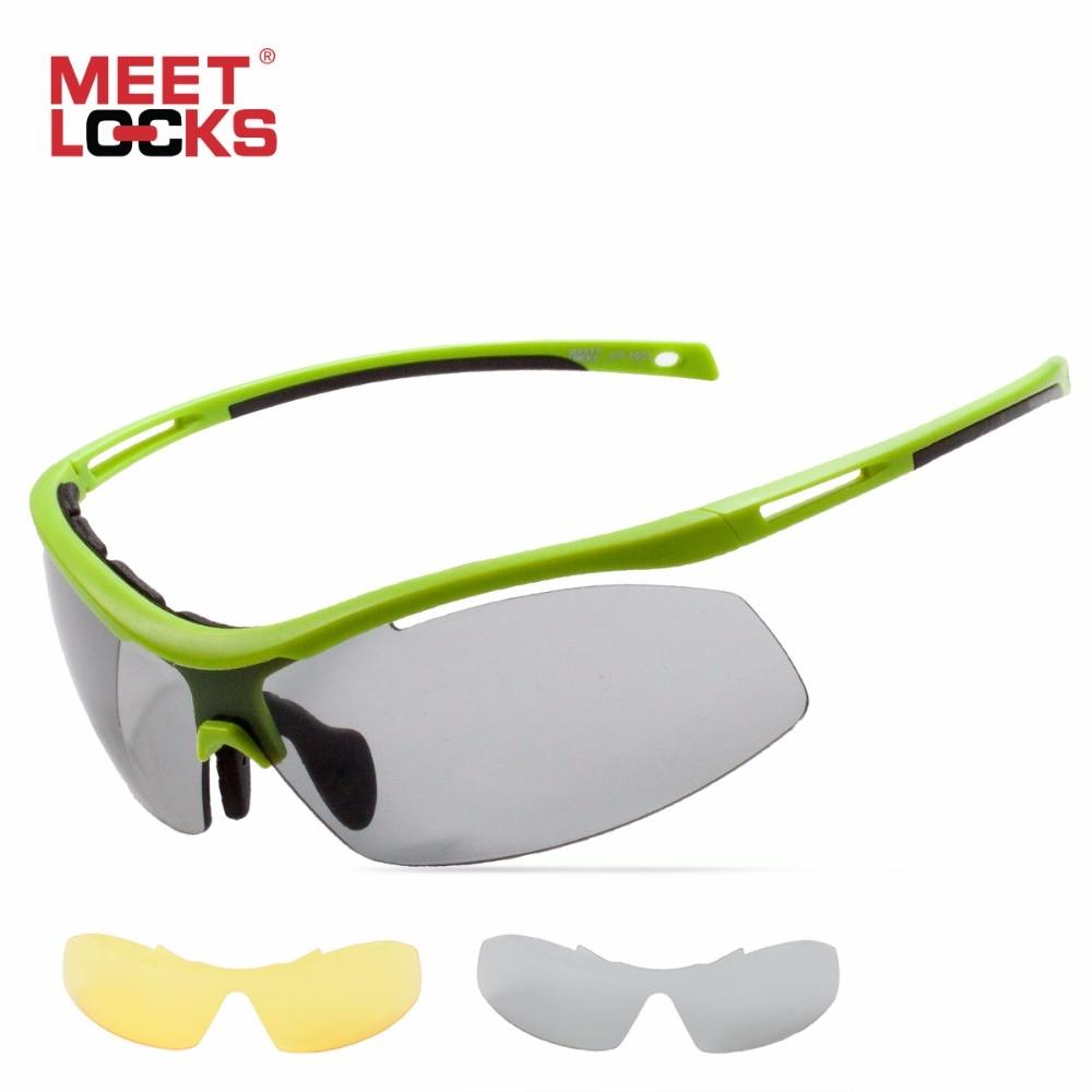 Prix pour MEETLOCKS Vélo Lunettes Photochromiques Sport lunettes de Soleil Lentille Incassable TR90 Cadre 2 Objectif Pour L'extérieur Vélo gafas ciclismo