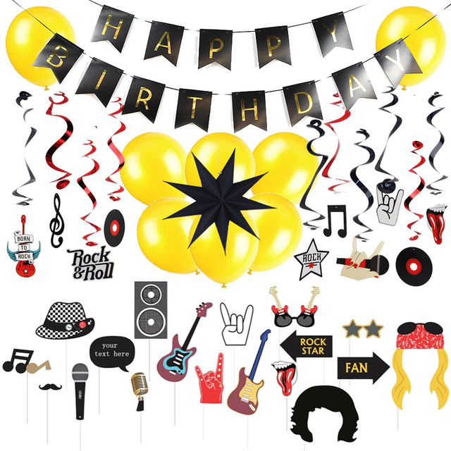 Đá Sinh Nhật Trang Trí Bộ Rock N' Roll Cụ Hóa Trang Chụp hình Xoáy Treo Bong Bóng Trang Trí Sinh Nhật Tiệc Âm Nhạc Supplie