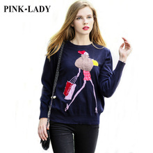 Autumn Thin Trendy Sweaters and Pullovers Women's Cartoon Girl Knitted Imitated Mink Cashmere Jumper Loose Knitting Jersey 016