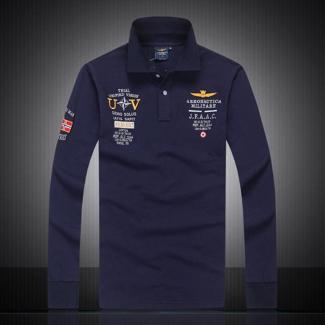 4a377a6eb17 2018 mens Autumn 100%cotton AERONAUTICA MILITARE long sleeve Air force one man  polo shirt
