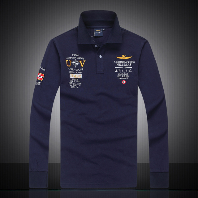 9bee05380eb 2018 mens Autumn 100%cotton AERONAUTICA MILITARE long sleeve Air force one man  polo shirt