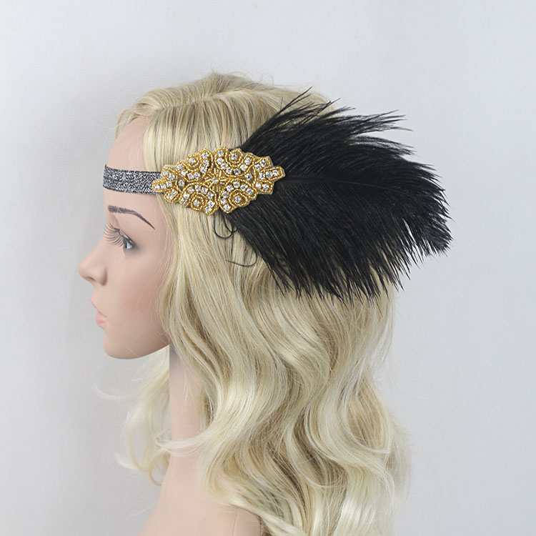 1920s Great Gatsby Headpiece Black Gold Beading Feather Vintage Headband Flapper Costume Party Gift 4