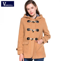 Autumn Winter Women Classic Horn Button Coat 2017 Women's Outerwear 3 Colors Fashion Standard European Size Loose Woolen Jacket