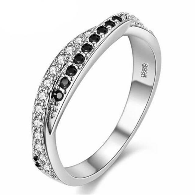 Almei Black Silver Color Ring for Women Vintage Girls Jewelry Fashion Rings White Stones Anel Bijoux Bague for Wedding Band Y022