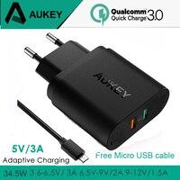 AUKEY 2 USB 充電器急速充電 3.0 ポータブル壁急速充電器旅行高速 USB 電話充電器最速の充電電話 iPad